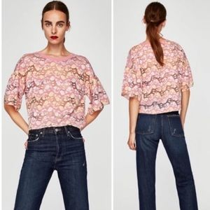 Zara Floral Lace Bell Sleeve Top